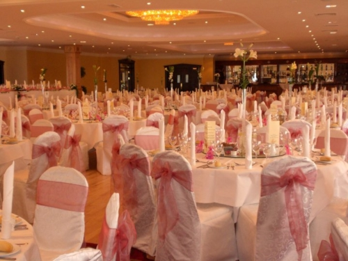 rose pink sash on white covers