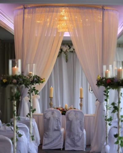 floral aisle stands & round arbour
