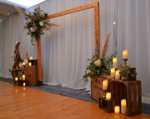 rustic wood arch ceremony