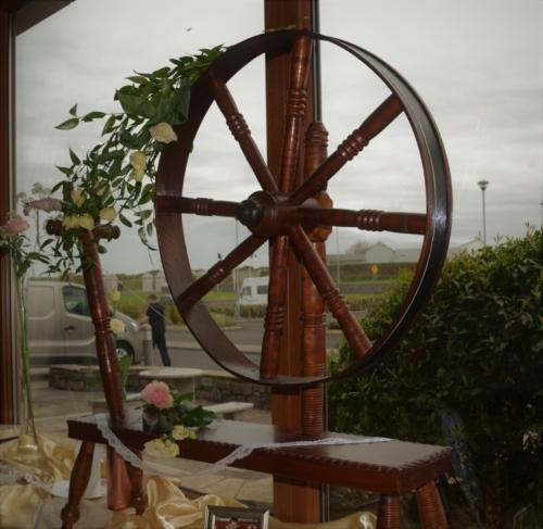 floral vintage spinning wheel