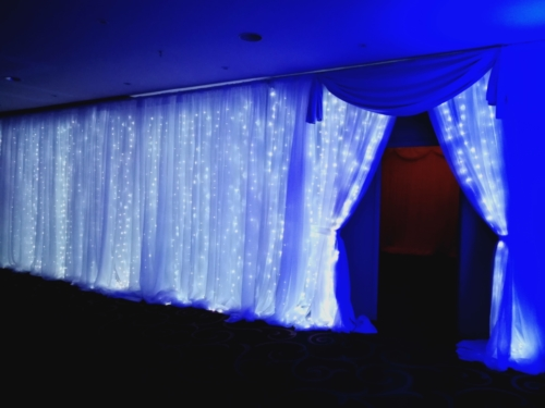 fairylight wall draped entrance