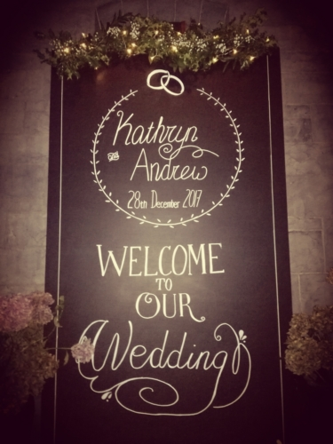 4ft wide giant chalkboard personalised welcome sign