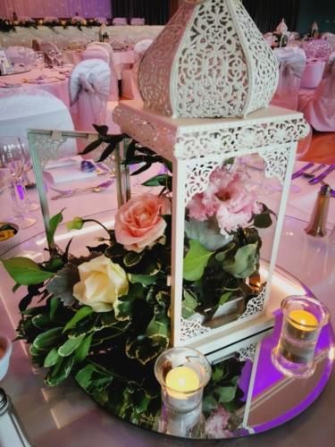 Floral White Lanterns Centrepiece