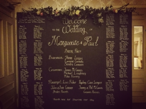8ft chalkboard seating plan