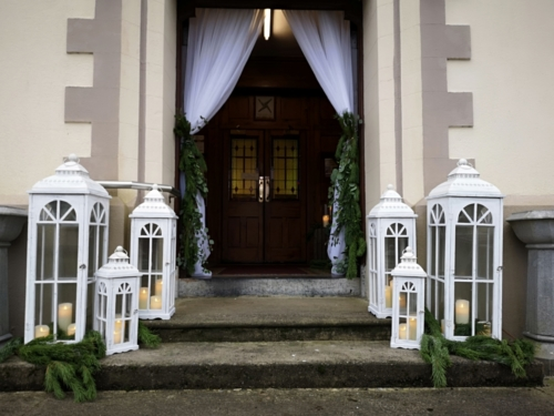Fresh Foliage entrance lanterns & drape