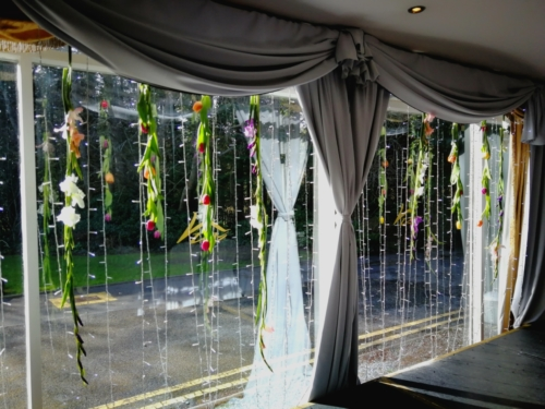 window dressing drape flowers